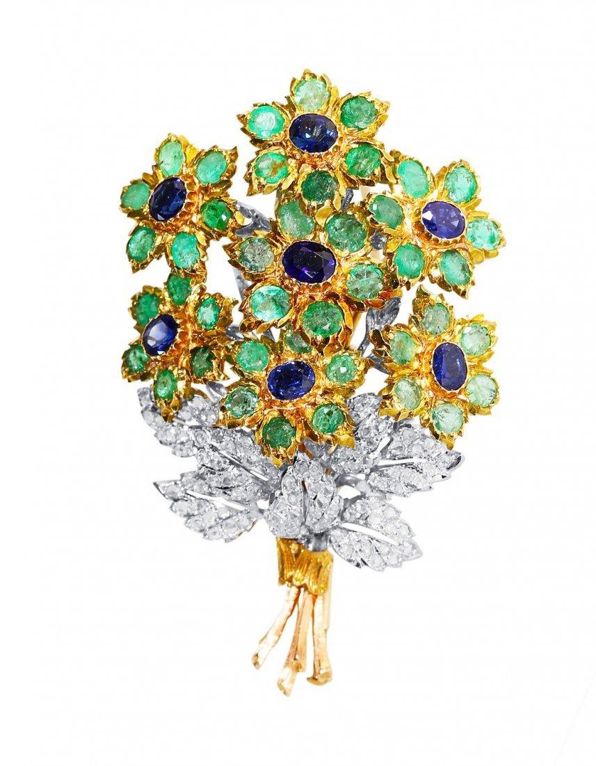 18 Karat Emerald Sapphire Diamond Brooch by Buccellati
