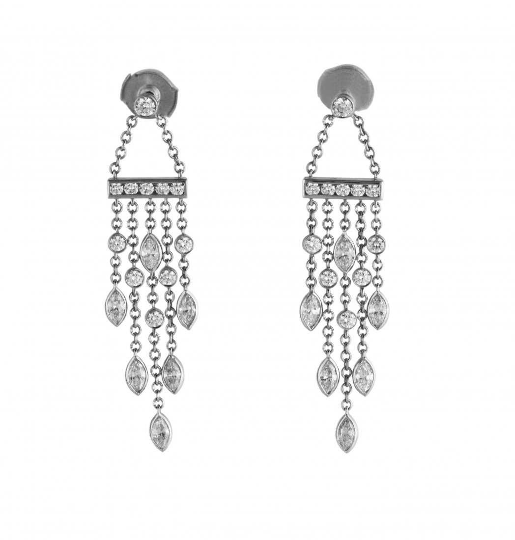 Platinum and Diamond Earrings by Tiffany & Co.