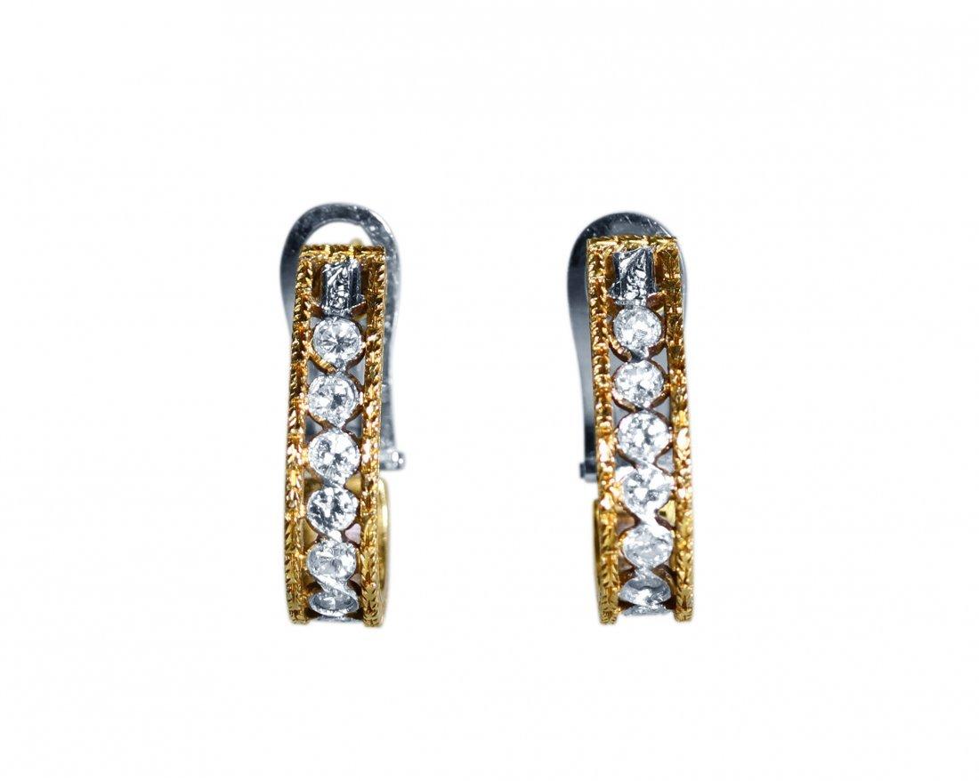 Pair of 18 Karat Gold Diamond Earrings by Buccellati