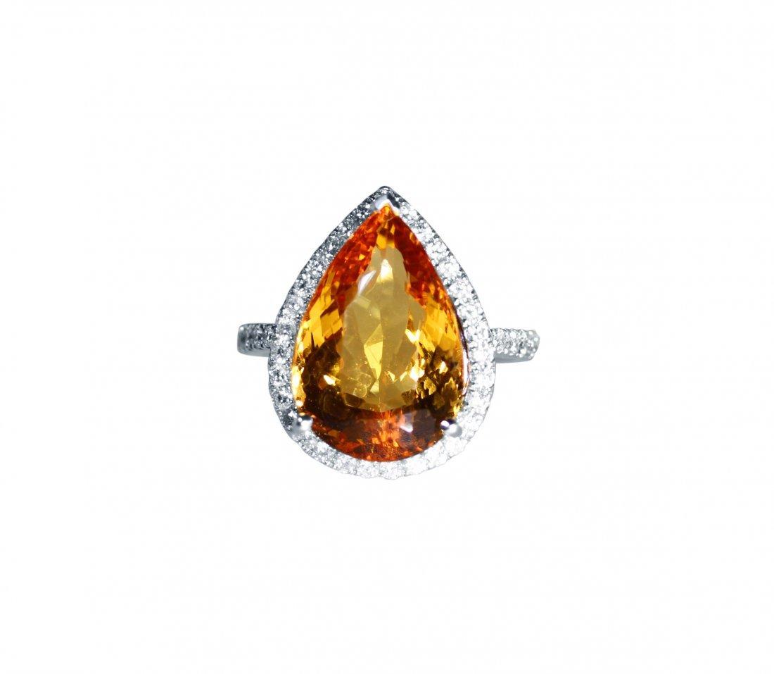 18 Karat White Gold Precious Topaz and Diamond Ring