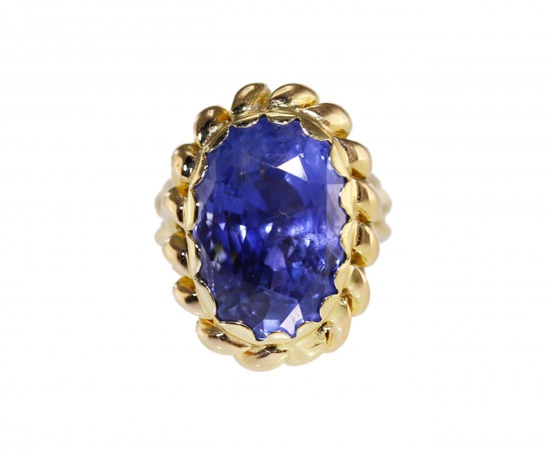 18 Karat Gold Sapphire Ring, Ceylon - No Heat, AGL