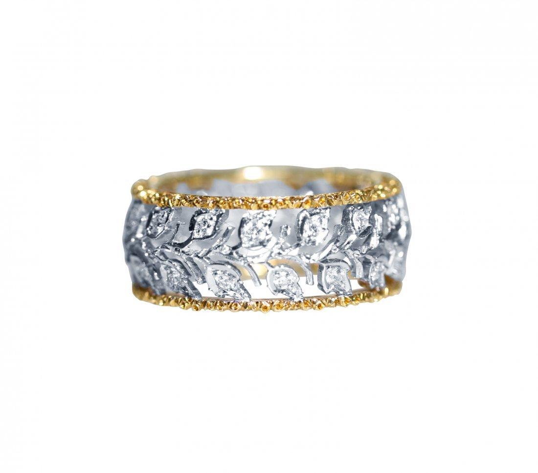 18 Karat White and Yellow Gold Diamond Ring, Buccellati
