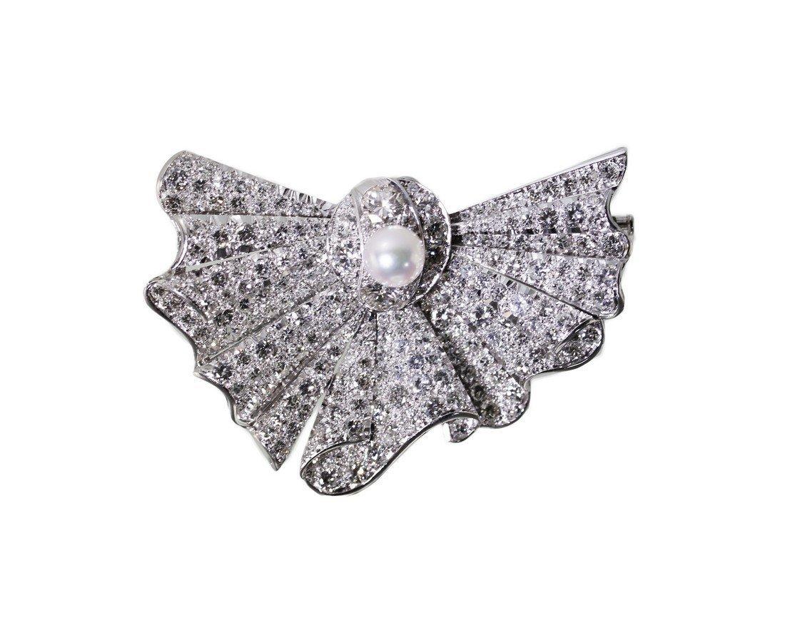 Platinum Pearl Diamond Pendant/Brooch, circa 1950s