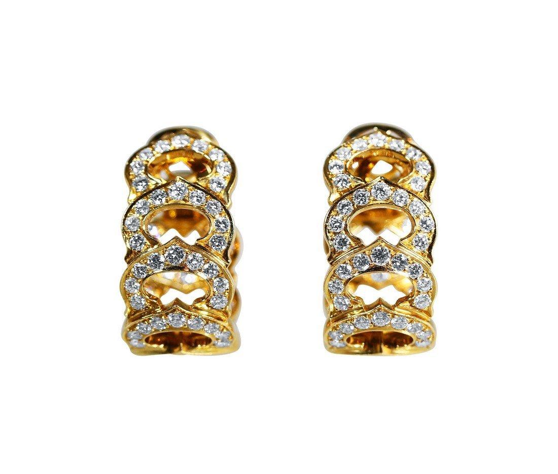 "18 Karat Gold and Diamond ""C"" Earrings by Cartier"