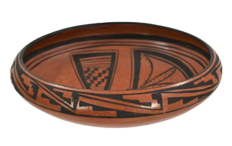 Native American, Hopi Pottery Bowl with Butterfly, by