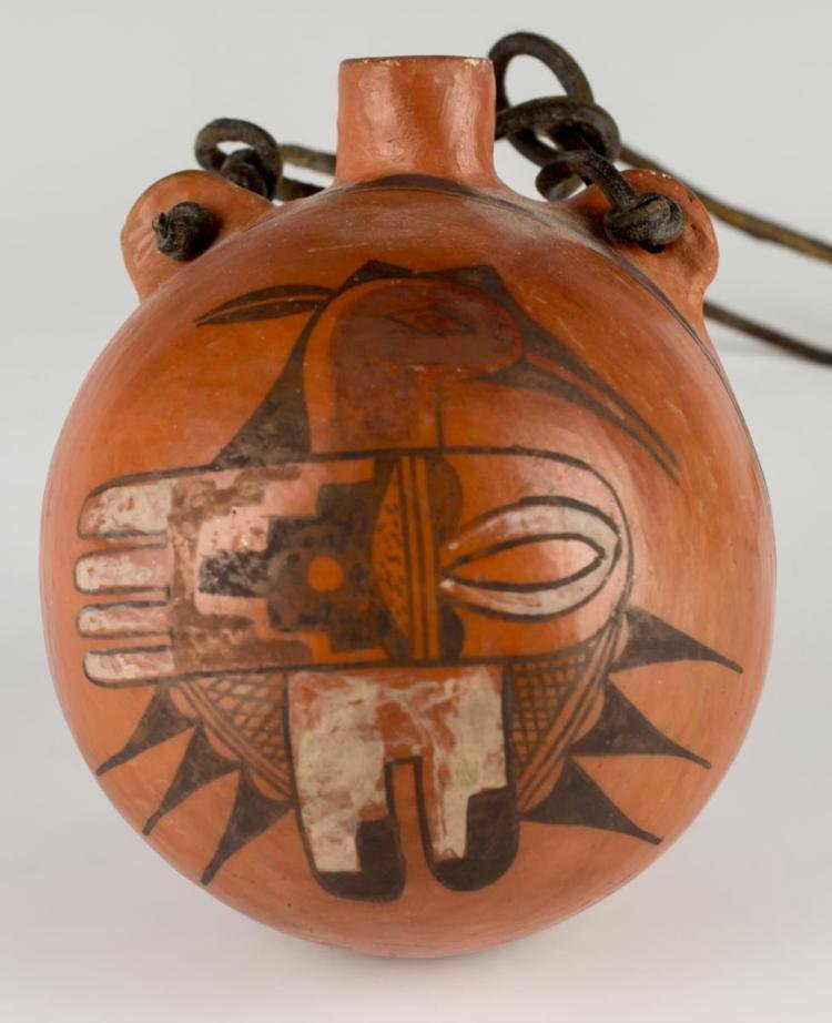 Native American Hopi Polychrome  Pottery Canteen, Ca