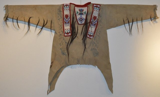 Native American Plains Beaded War Shirt, With Three