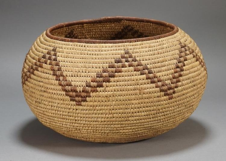 Native American Large Pima Tribe Woven Basket, # 838
