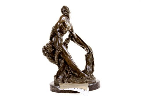 decorative bronze sculpture on marble base