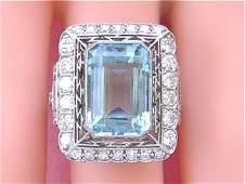 ART DECO 8ct AQUAMARINE 1.82ct DIAMOND PLATINUM RING