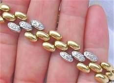 VINTAGE 1.20ct DIAMOND 2 TONE 18K LINK BRACELET 1960