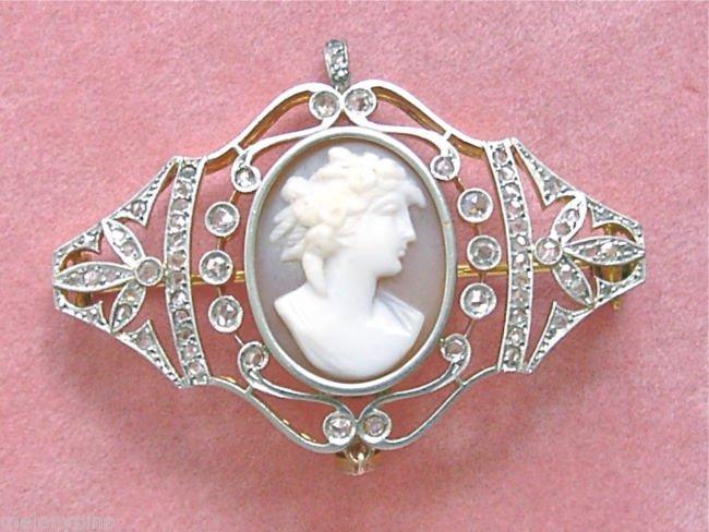 ANTIQUE VICTORIAN 1.08ctw DIAMOND SHELL GODDESS FLORA