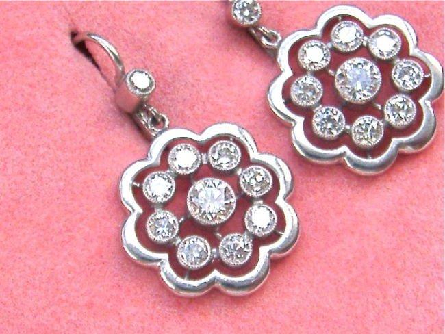 ESTATE EDWARDIAN STYLE 1.5ct DIAMOND PLATINUM EARRINGS