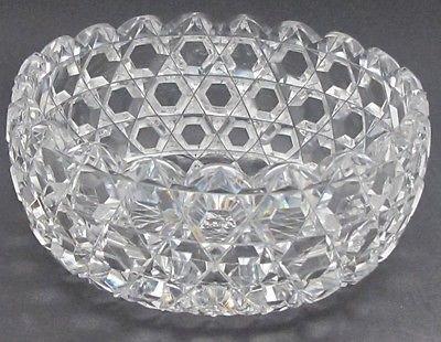 ABP cut glass bowl Hexagon diamond, Antique crystal