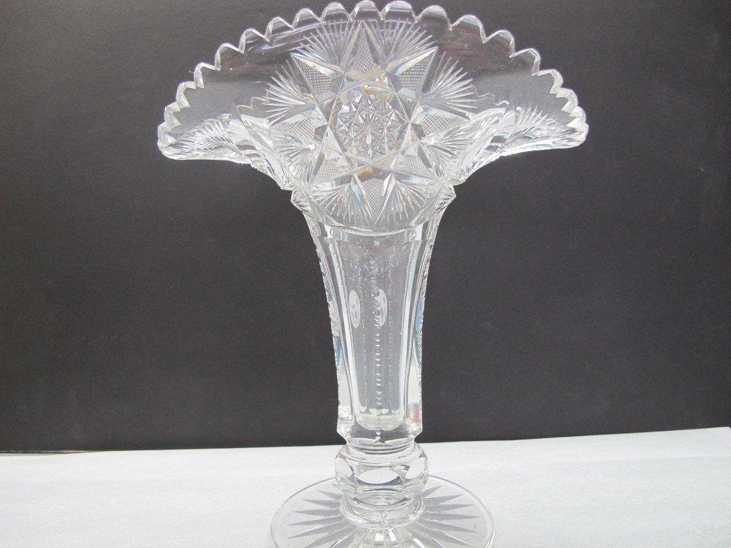 ABP Cut glass fan vase antique