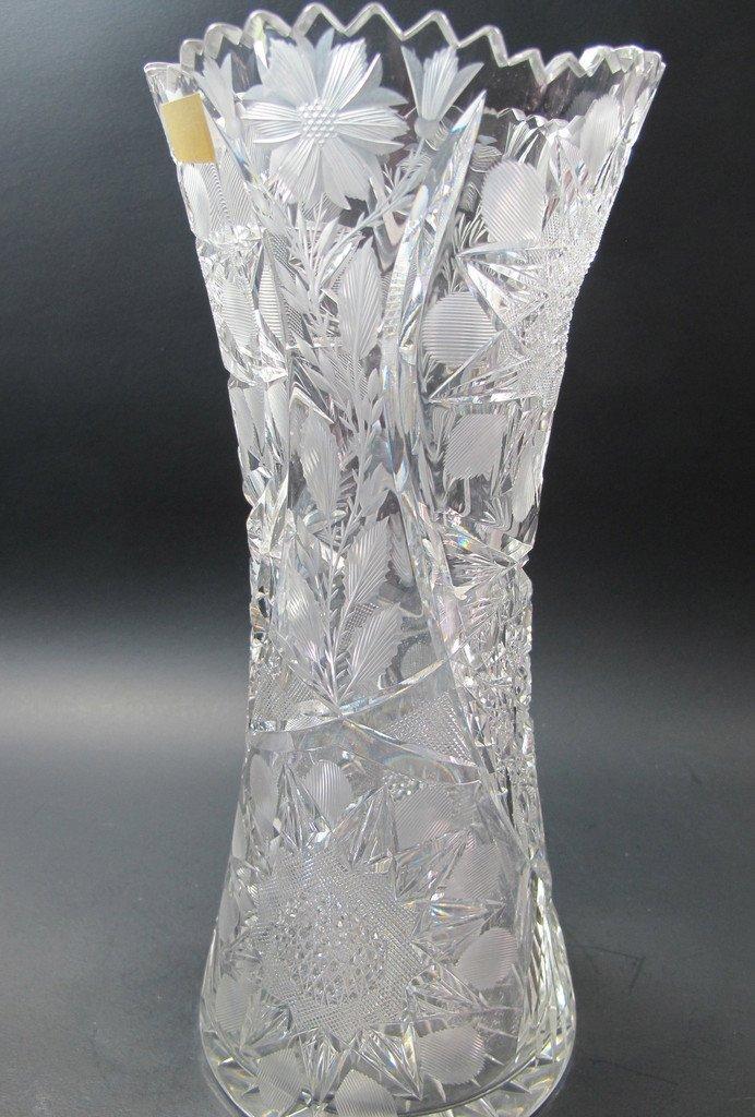 ABP Cut glass floral vase antique