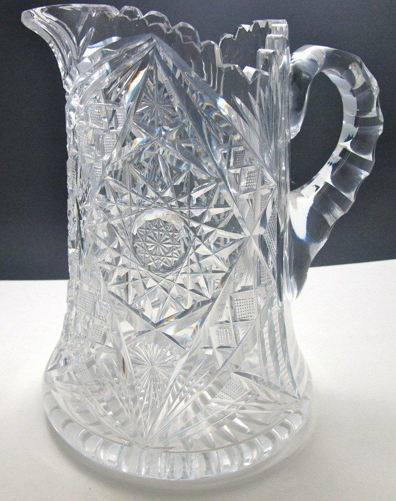 ABP cut glass pitcher ANTIQUE American brilliant period