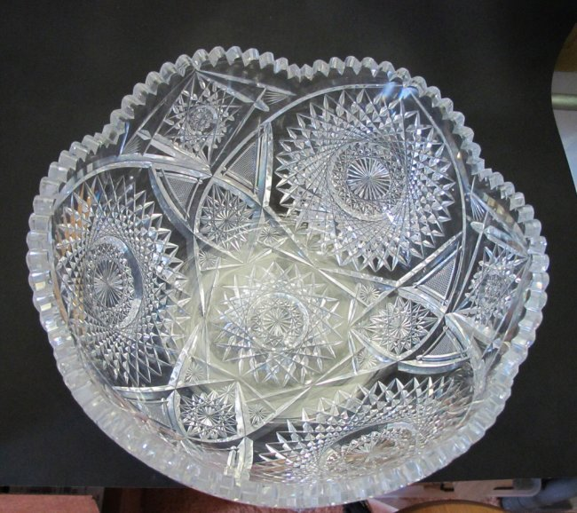 ABP cut glass punch bowl American brilliant period 1886