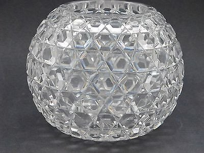 ABP cut glass rose bowl Hexagon diamond, Antique