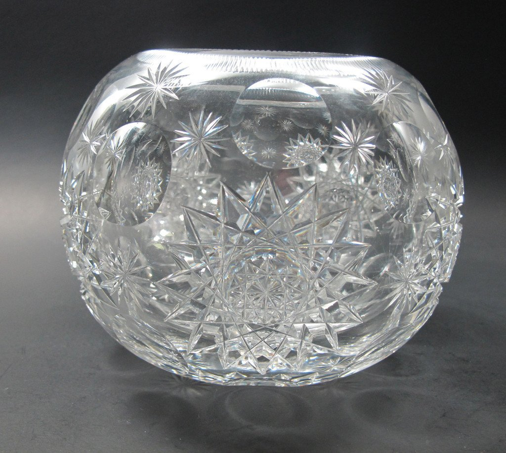 ABP cut glass rose bowl punties hobstar, Antique