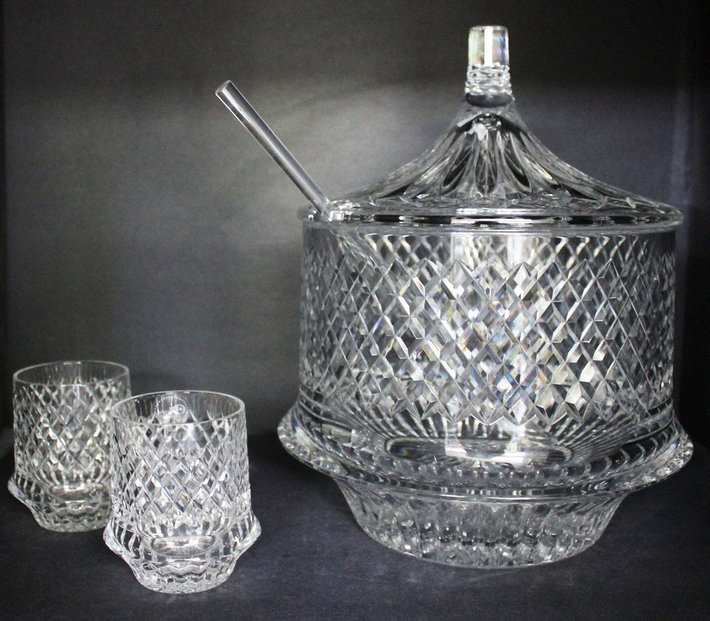 Hand Cut Lided Punch Bowl