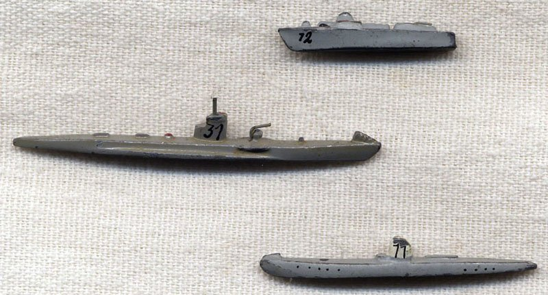 Set of 3 Miniature WWII German U-Boats and Fast Boat in