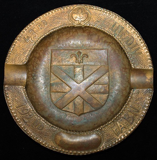 Great WWII 'Trench Art' Ashtray, US Army 192nd Field