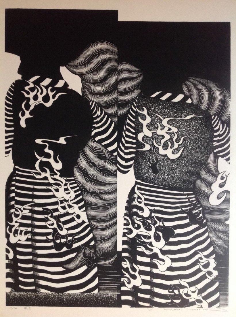 HIROSHI TOMIHARI- VINTAGE 1976 WOODBLOCK PRINT SIGNED