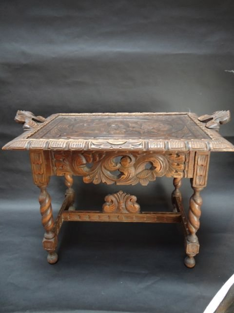 Mexican Colonial Hand Carved Wood Tea Table