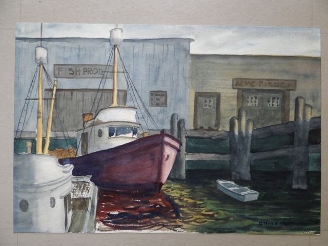 Alfred C. Ybarra (1905 – 2001) Watercolor Boats in a