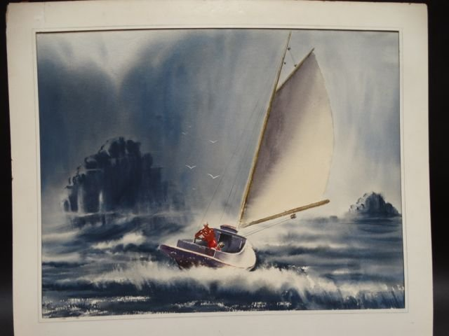 Irv Wyner Sailing in a Squall Watercolor P1121