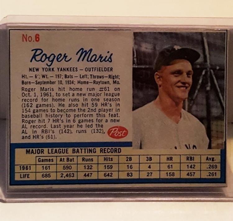 1962 Post #8 Roger Maris