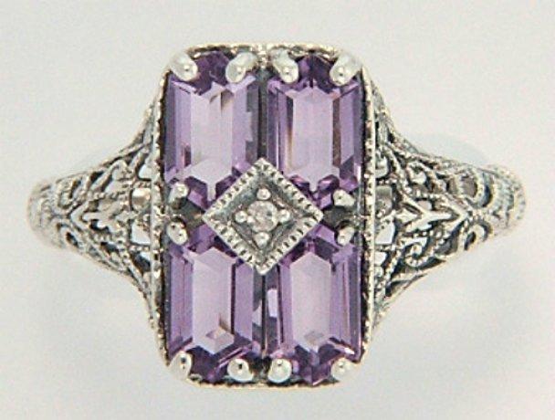 AMETHYST DIAMOND RING ANTIQUE