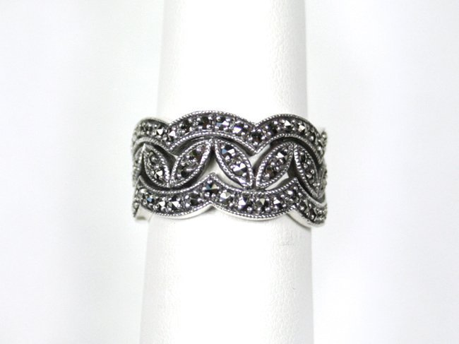 WEDDING BAND WIDE MARCASITES STERLING SIZE 6 1/2