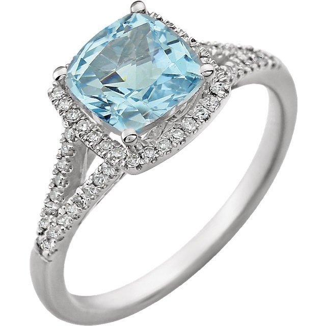 BLUE TOPAZ DIAMOND RING 14K WHITE GOLD