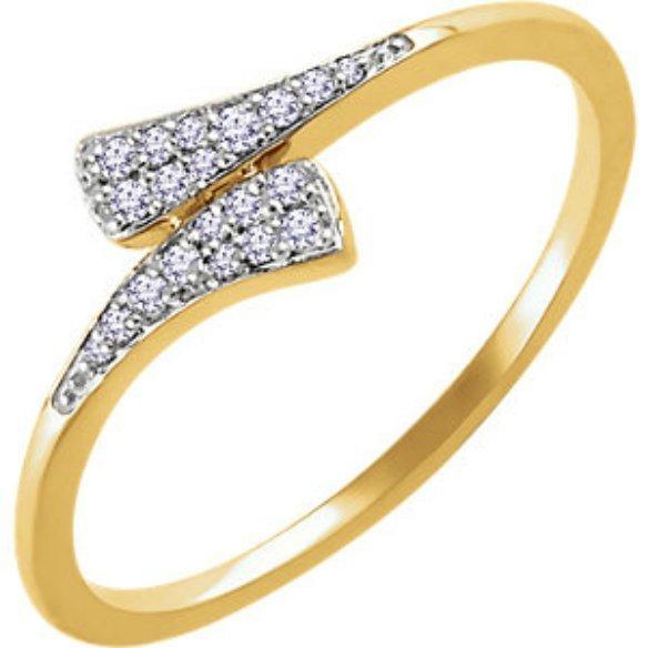 DIAMOND RING 14K YELLOW GOLD BYPASS