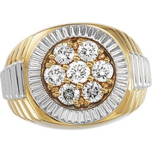 14K GOLD GENTS RING 7 DIAMOND = 1.50 CTS!
