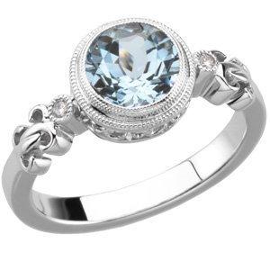 AQUAMARINE DIAMOND RING 14K WHITE GOLD