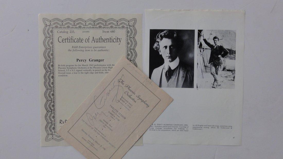 Percy Grainger Autograph & Concert Program from Phoenix