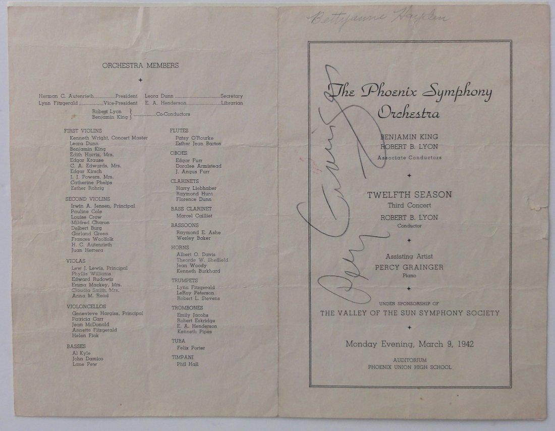 Percy Grainger Autograph & Concert Program from Phoenix - 2