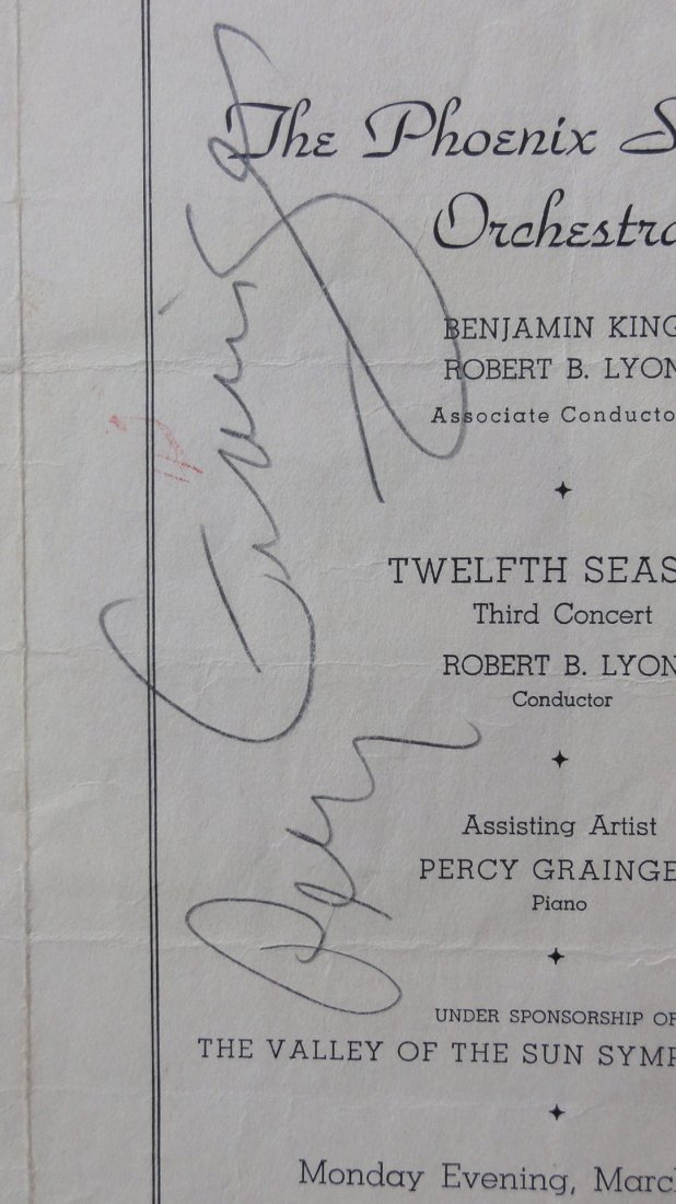 Percy Grainger Autograph & Concert Program from Phoenix - 3