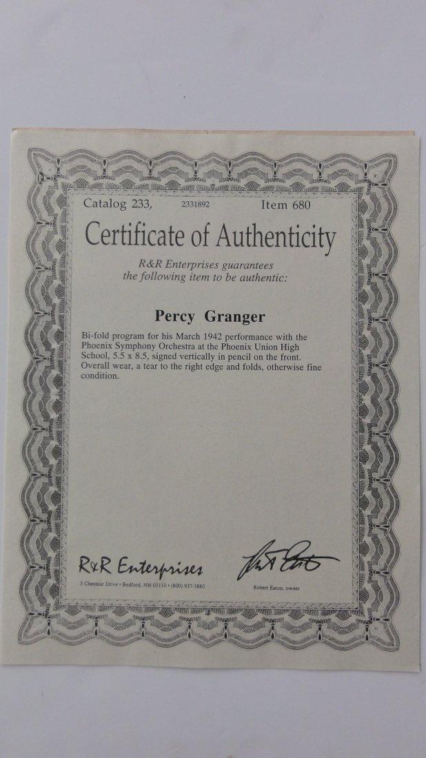 Percy Grainger Autograph & Concert Program from Phoenix - 7