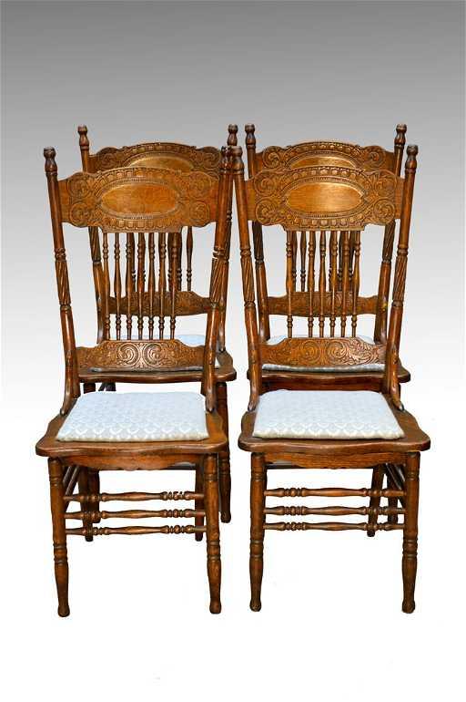 - Antique Set Of 4 Larkin #1 Press Back Chairs