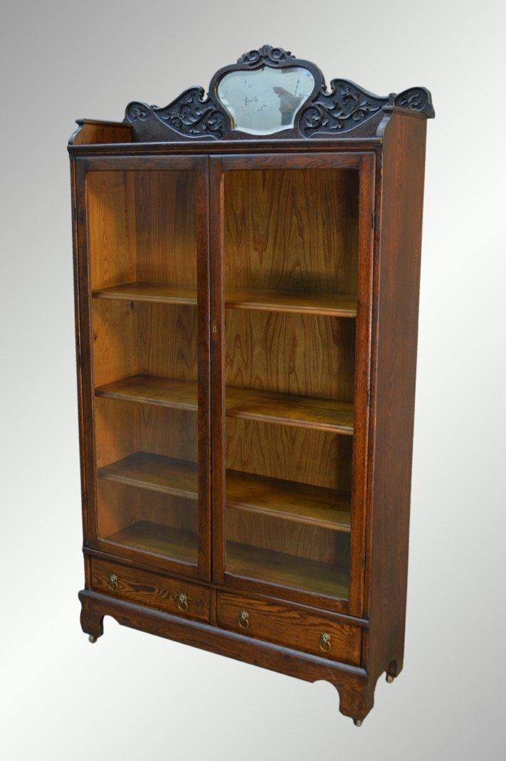 Antique Oak Larkin Bookcase with Beveled Mirror