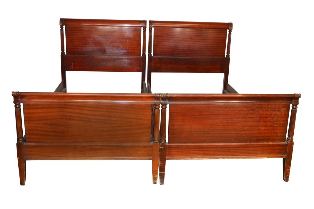 Vintage Pair of Mahogany Duncan Phyfe Twin Size Beds