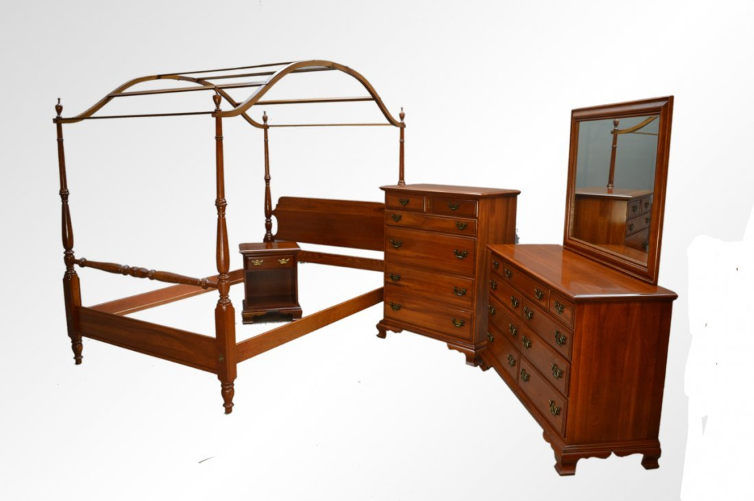 Vintage Cherry Solid Chippendale Bedroom Set by