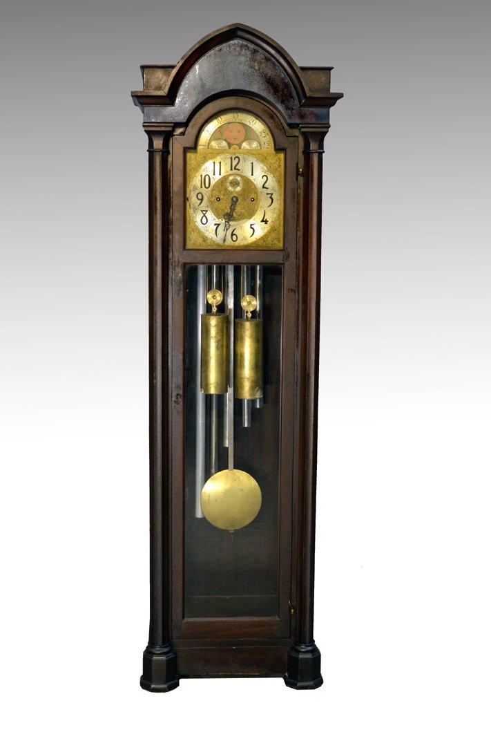 Vintage Mahogany Empire Grandfather Tubular Chime Clock
