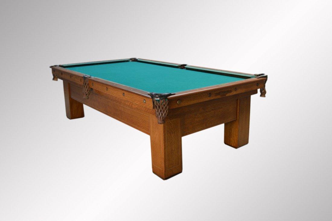 Antique brunswick quarter sawn oak inlaid pool table for Oak beauty pool table