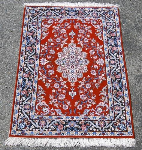 """GORGEOUSLY DESIGNED PERSIAN ISFAHAN WITH SILK, 3'7"""" X"""