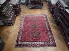 Wool On Wool 7'X10 Persian Shiraz Tribal Rug